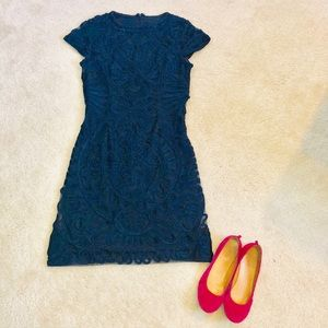 Embroidered Navy Cap Sleeve Dress